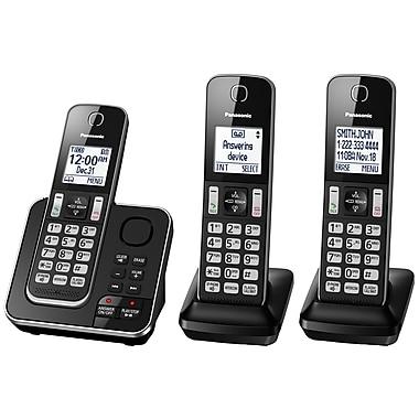 Panasonic KXTGD393B 3-Handset Cordless Phone with Answering Machine, Black