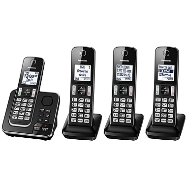 Panasonic KXTGD394B 4-Handset Cordless Phone with Answering Machine