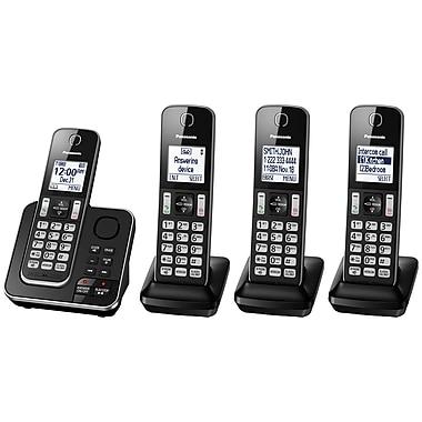 Panasonic - Téléphone sans fil KXTGD394B à 4 combinés avec répondeur
