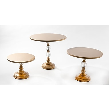 Opulent Treasures 3 Piece Orb Base Cake Plate Stand Set; Gold