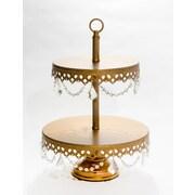 Opulent Treasures 2 Tier Chandelier Dessert Plate Tiered Stand; Gold
