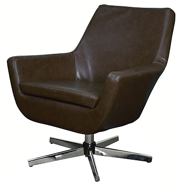 New Pacific Direct Zelda Swivel Arm Chair; Vintage Brown
