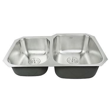 eModern Decor Ariel Pearl 32'' x 20.75'' Double Bowl Kitchen Sink
