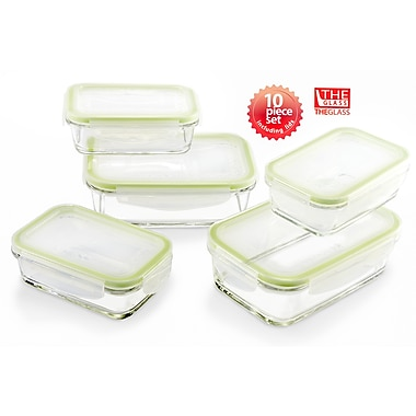 The Glass Rectangular 5 Container Food Container Set
