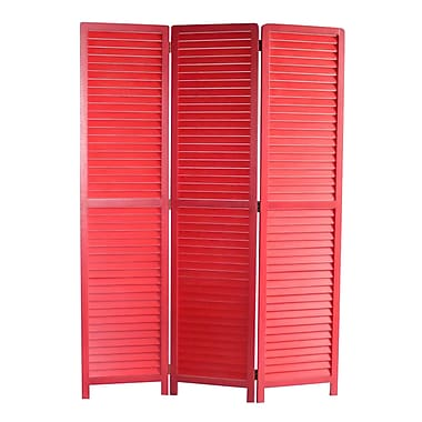 Screen Gems 67'' x 47'' Louvertie 3 Panel Room Divider; Red