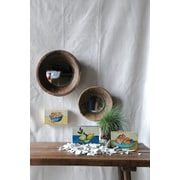 Creative Co-Op 2 Piece Round Mirror w/ Wood Bowl Frame Set