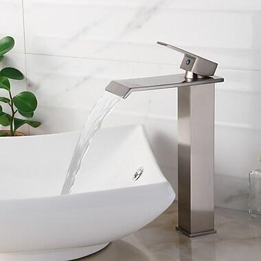 Elite Single Handle Bathroom Waterfall Faucet; Brushed Nickel
