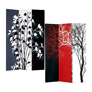 Roundhill Furniture 71'' x 51'' Double Sided Painted Canvas 3 Panel Room Divider