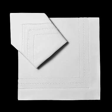 BoutrossFineLinens Triple Hemstitch Dinner Napkins (Set of 4); White
