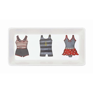 Creative Co-Op Waterside Vintage Bathing Suit Stoneware Tray