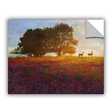 ArtWall Tree Poppies Deer 2 by Chris Vest Wall Mural; 18'' H x 24'' W x 0.1'' D