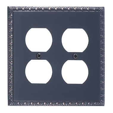 BRASS Accents Egg and Dart Double Outlet Plate; Venetian Bronze