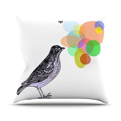 KESS InHouse Candy Birds Outdoor Throw Pillow