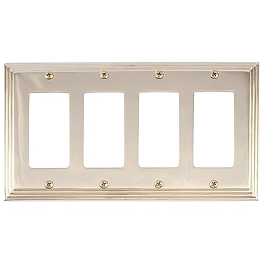 BRASS Accents Classic Steps Quad GFCI Plate; Polished Brass