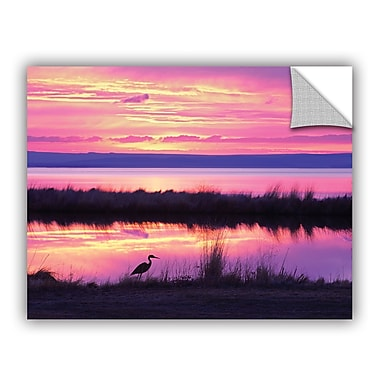 ArtWall Sunset Crane by Dennis Frates Wall Mural; 14'' H x 18'' W x 0.1'' D