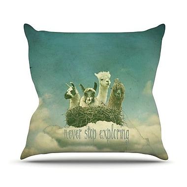 KESS InHouse Never Stop Exploring Outdoor Throw Pillow