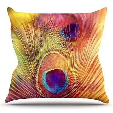 KESS InHouse Peacock Feather by Sylvia Cook Outdoor Throw Pillow