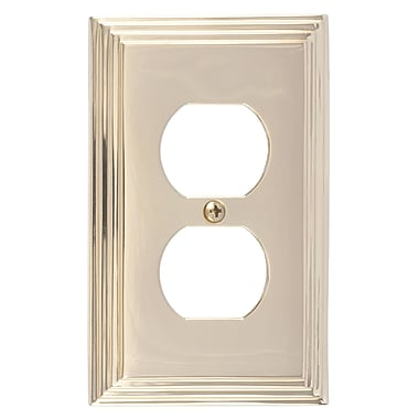 BRASS Accents Classic Steps Single Outlet Plate; Polished Brass