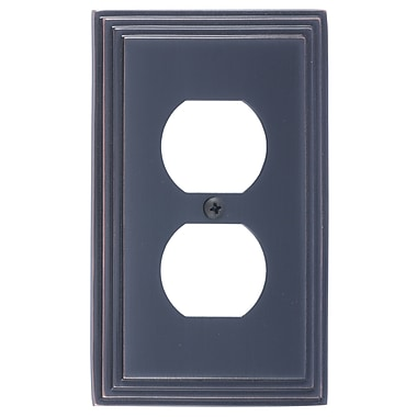 BRASS Accents Classic Steps Single Outlet Plate; Venetian Bronze