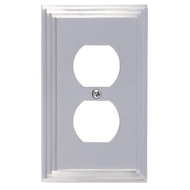 BRASS Accents Classic Steps Single Outlet Plate; Satin Nickel