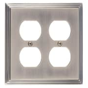 BRASS Accents Classic Steps Double Outlet Plate; Antique Brass