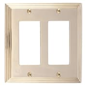 BRASS Accents Classic Steps Double GFCI Plate; Polished Brass