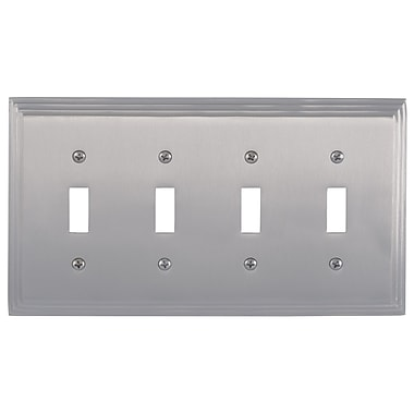 BRASS Accents Classic Steps Quad Switch Plate; Satin Nickel
