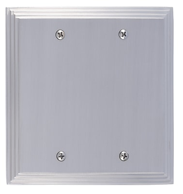 BRASS Accents Classic Steps Double Blank Plate; Satin Nickel