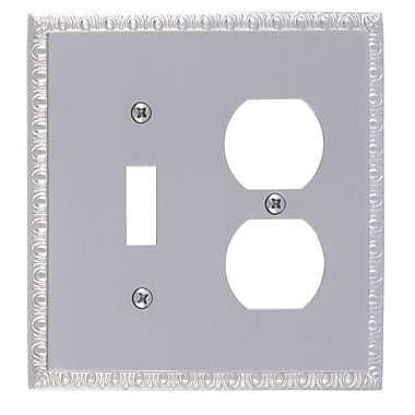 BRASS Accents Egg and Dart Outlet Plate; Satin Nickel
