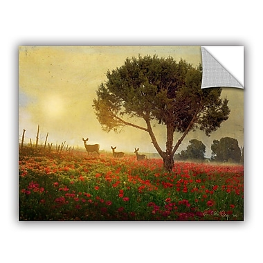 ArtWall Tree Poppies Deer by Chris Vest Wall Mural; 14'' H x 18'' W x 0.1'' D