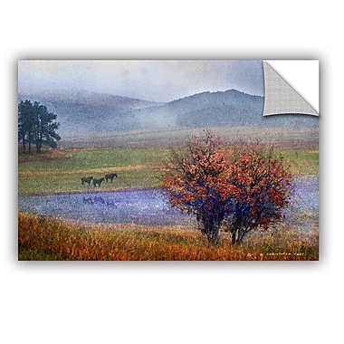 ArtWall Horses and Lone Oak by Chris Vest Wall Mural; 32'' H x 48'' W x 0.1'' D