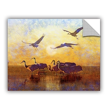 ArtWall Sunrise Cranes by Chris Vest Wall Mural; 18'' H x 24'' W x 0.1'' D