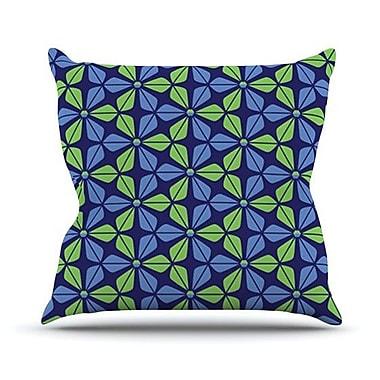 KESS InHouse Infinite Flowers Outdoor Throw Pillow; Blue
