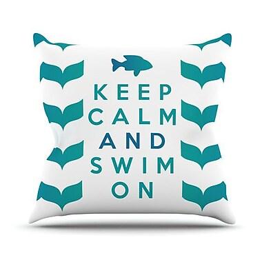 KESS InHouse Keep Calm and Swim on Outdoor Throw Pillow