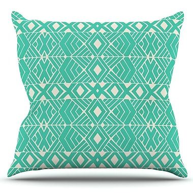 KESS InHouse Going Tribal by Pom Graphic Design Outdoor Throw Pillow; Teal
