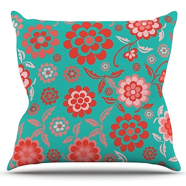 KESS InHouse Cherry Floral by Nicole Ketchum Outdoor Throw Pillow; Sea