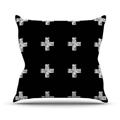 KESS InHouse Swiss Cross Outdoor Throw Pillow; Black