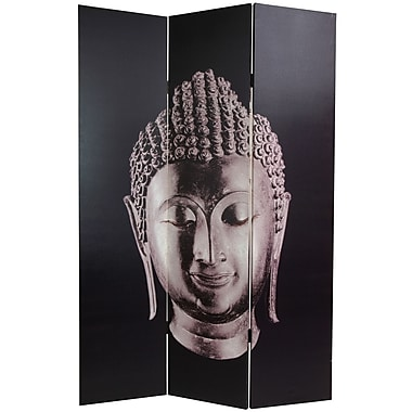 Oriental Furniture 70.88'' x 47.25'' Buddha 3 Panel Room Divider