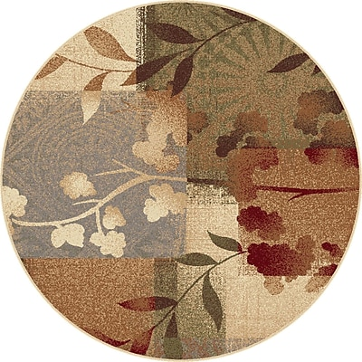 TayseRugs Impressions Blue Natural Collage Rug; Round 5'3''