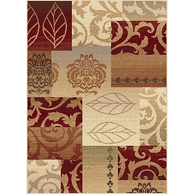 TayseRugs Impressions Red Multi Classic Collage Rug; Rectangle 5'3'' x 7'3''