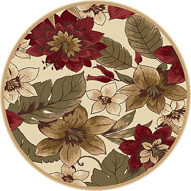 TayseRugs Impressions Red/Beige Bold Blossoms Rug; Round 5'3''