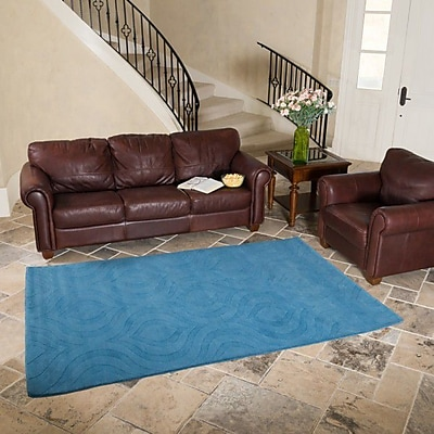 Harbormill Hand-Tufted Turquoise Area Rug; 3' x 5'