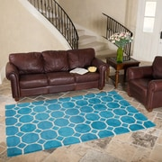 Harbormill Hand-Tufted Turquoise Area Rug; 5' x 8'