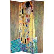Oriental Furniture 72'' x 48'' Double Sided Works of Klimt 3 Panel Room Divider