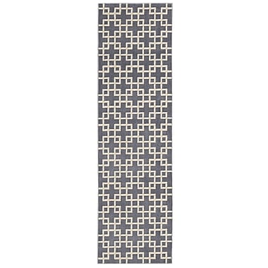 Kathy Ireland Home Gallery Hollywood Shimmer Times Square Gray/Tan Area Rug; Runner 2'3'' x 8'