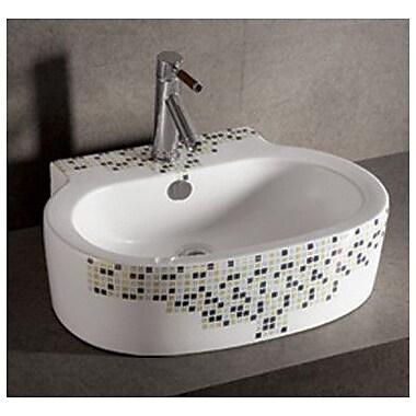 Whitehaus Collection Isabella Decorative Tile Oval Vessel Bathroom Sink w/ Overflow