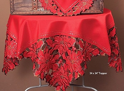 Xia Home Fashions Holiday Spirit Embroidered Cutwork Holiday Table Topper