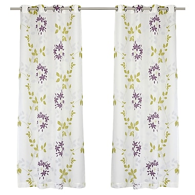 LJ Home Dreamscape Nature/Floral Semi-Sheer Grommet Panel Pair (Set of 2); Purple / Olive Green