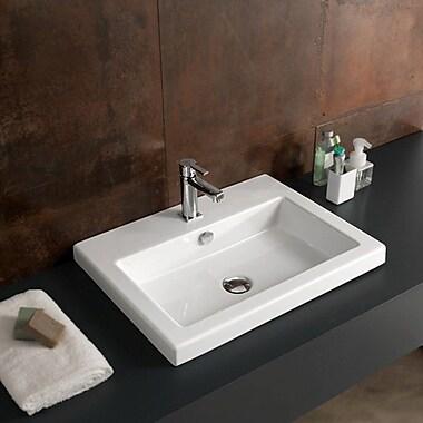 Ceramica Tecla Cangas Ceramic Self Rimming Bathroom Sink; Single Hole