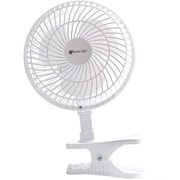 Avalon 6 Inch Clip-On Fan with Attachable Table-Top Base, White